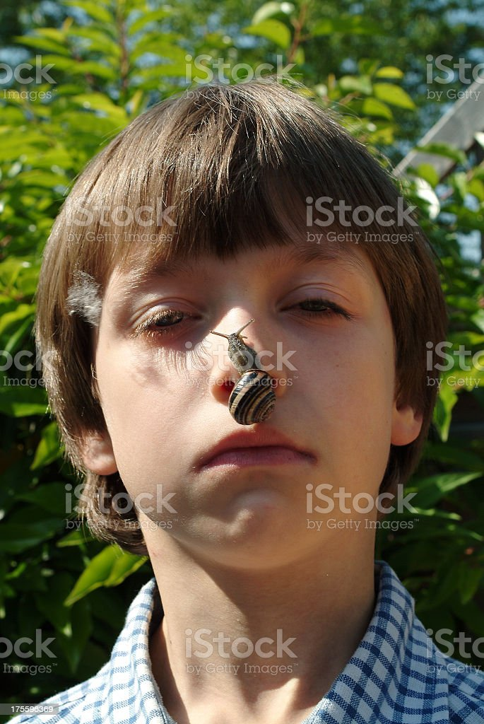 Boy with snail on his nose royalty-free stock photo