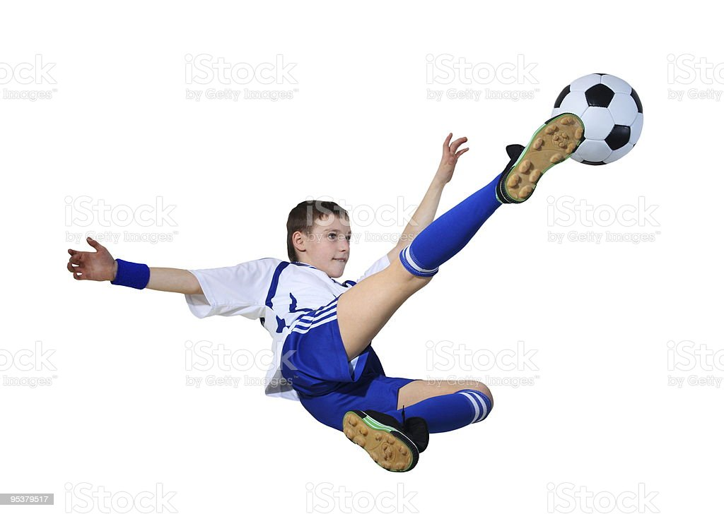 Boy con pelota de fútbol - foto de stock