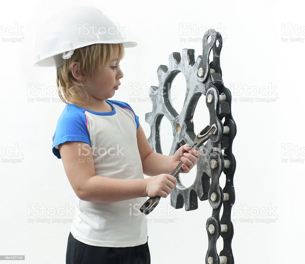 Boy with spanner royalty-free stock photo