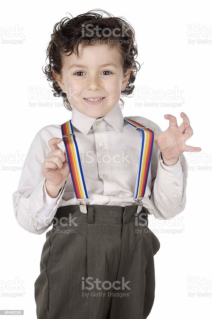 Boy with suspenders royalty-free stock photo