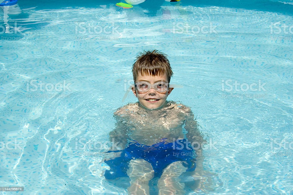 Boy with swim goggles royalty-free stock photo