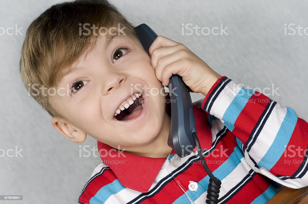 Boy with telephone royalty-free stock photo
