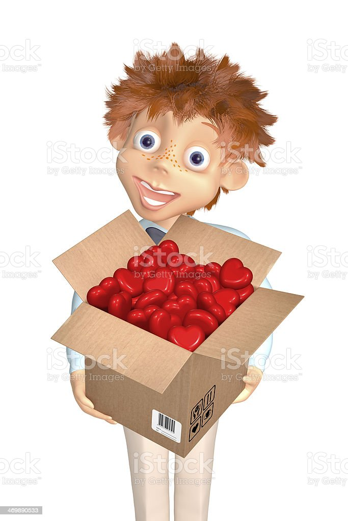 Boy with the box of candies to the Valentine's day royalty-free stock photo