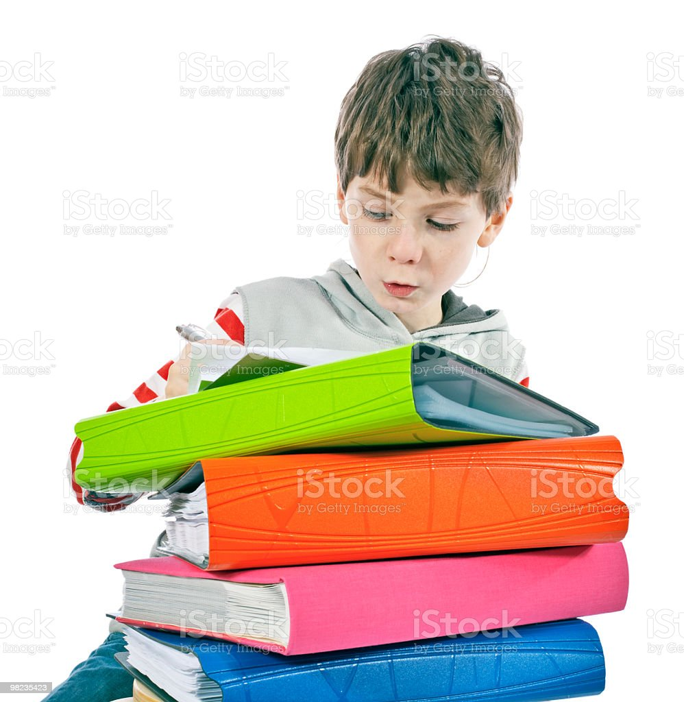 Boy with the furniture of a bookshelf royalty-free stock photo