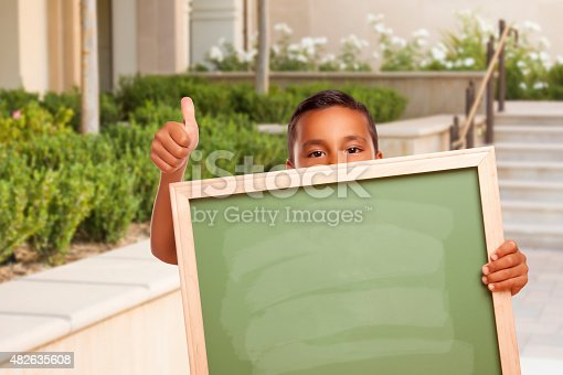istock Boy with Thumbs Up Holding Blank Chalk Board on Campus 482635608