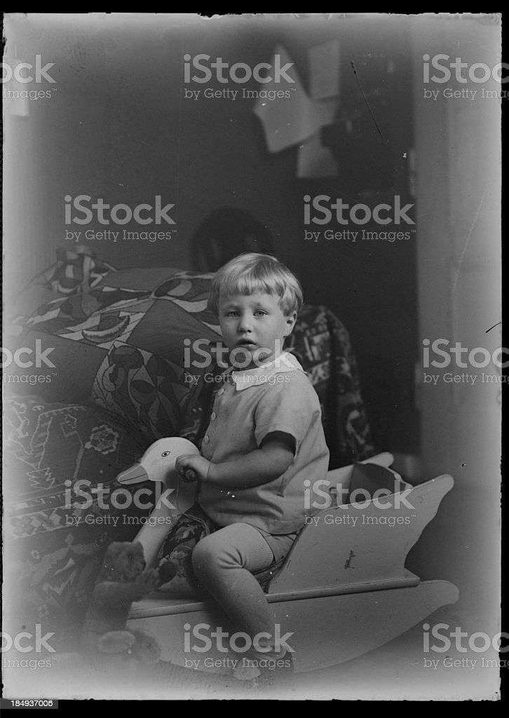 boy with toy (vintage) royalty-free stock photo