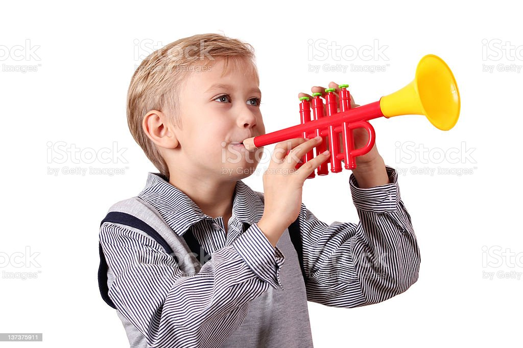 boy with trumpet stock photo
