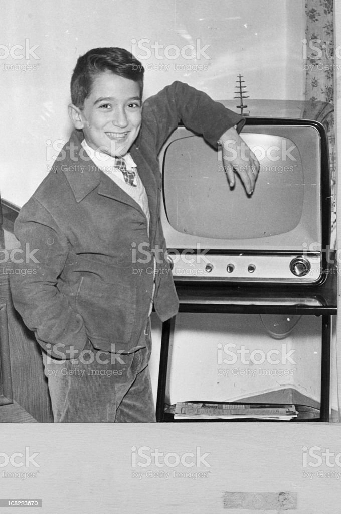 Boy with Vintage TV,1950,Black And White. royalty-free stock photo