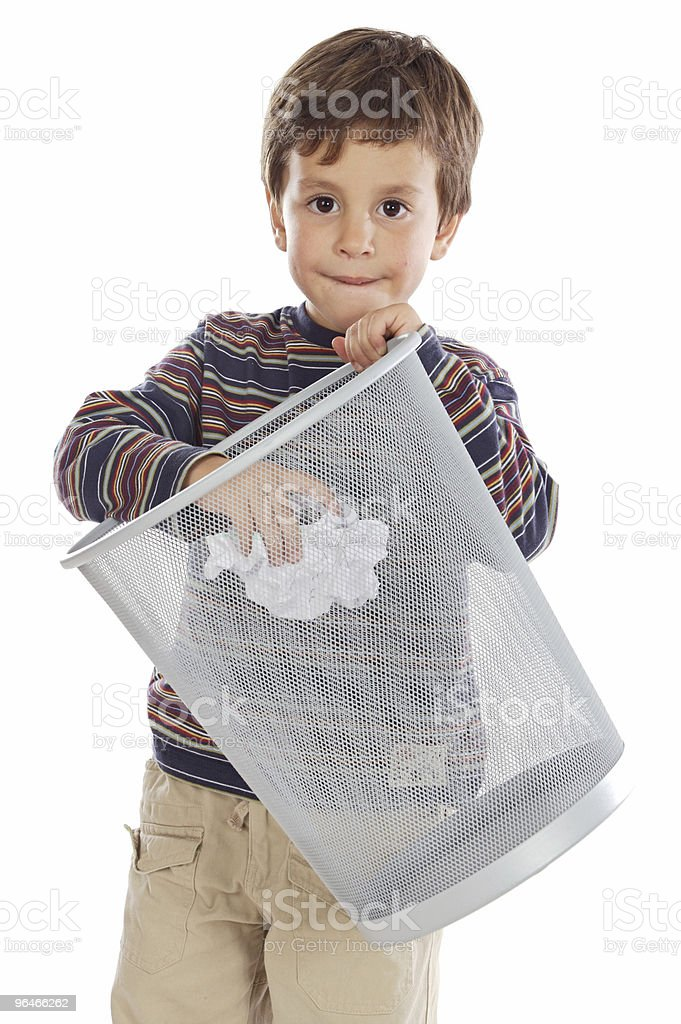 Boy with wastebasket royalty-free stock photo