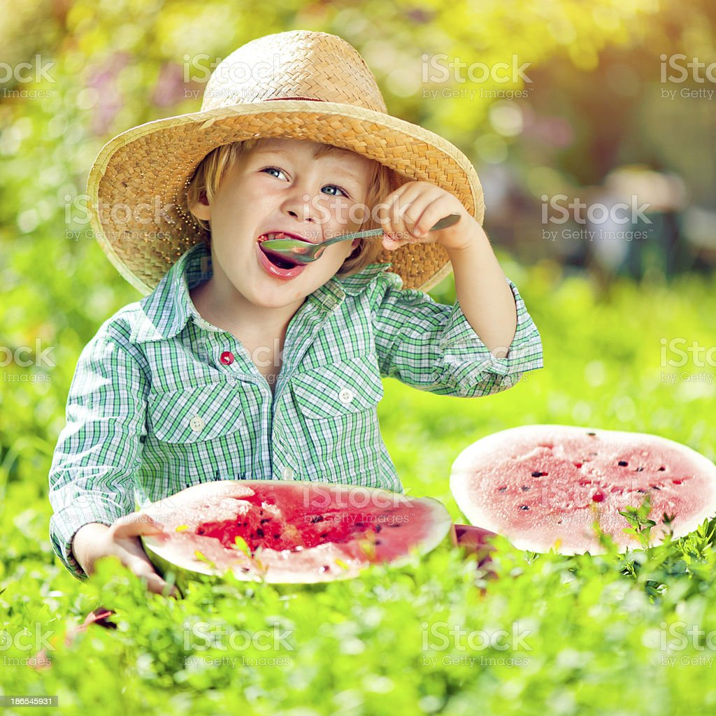 Boy with watermelon royalty-free stock photo
