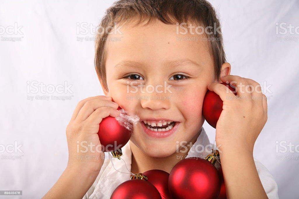 boy with xmas balls royalty-free stock photo