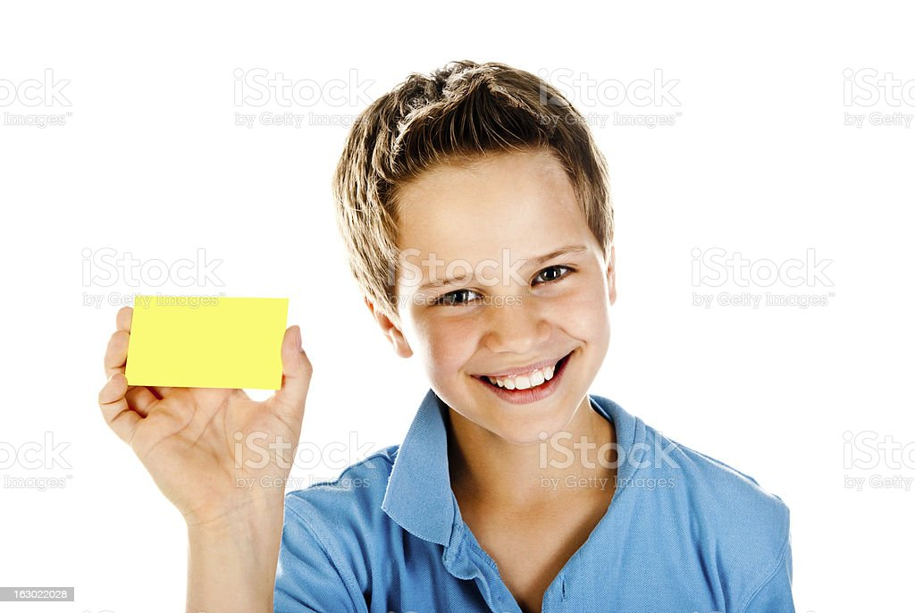 boy with yellow card stock photo