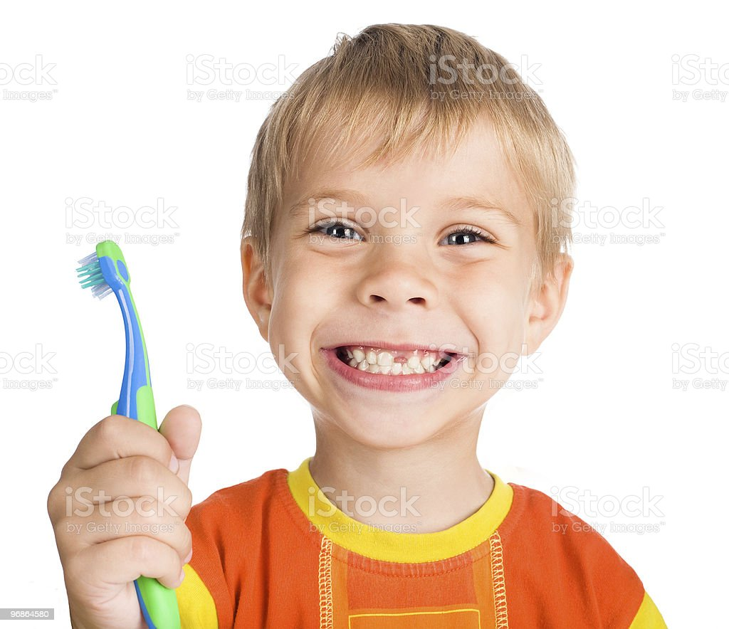 boy without one teeth with toothbrush royalty-free stock photo
