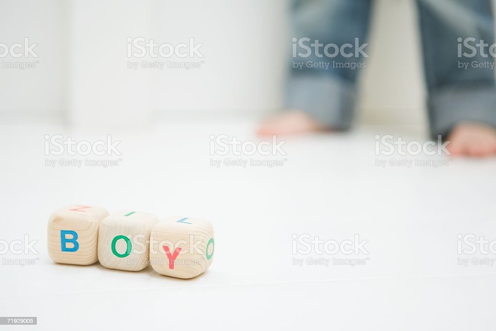 Boy written with toy blocks royalty-free stock photo