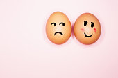 istock Boyfriend egg looks at his girlfriend with suspicious jealousy 1225408458