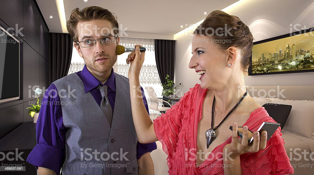 Boyfriend is Tired of Waiting for Girlfriend To Get Ready stock photo
