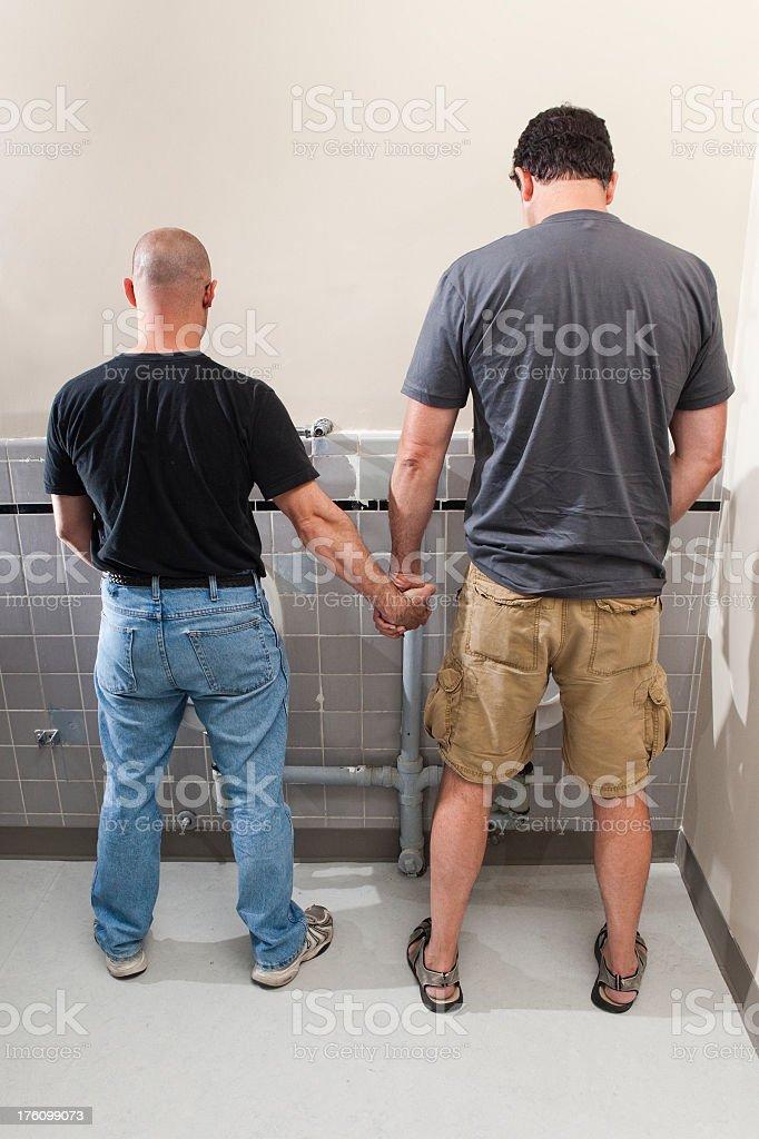 Boyfriends in the Bathroom royalty-free stock photo