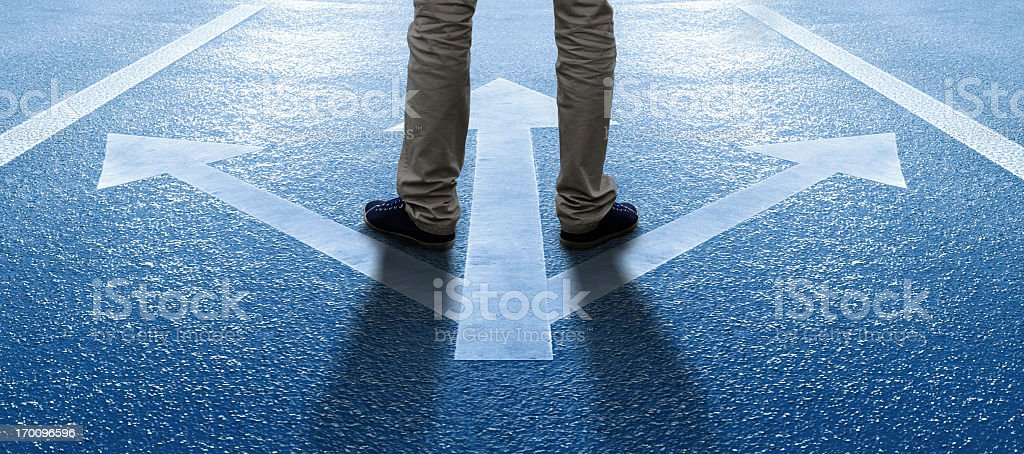 Boy/man about to make a decision stock photo