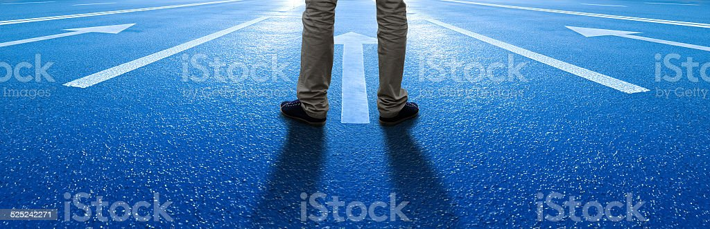 Boy/man about to make a decision stock photo