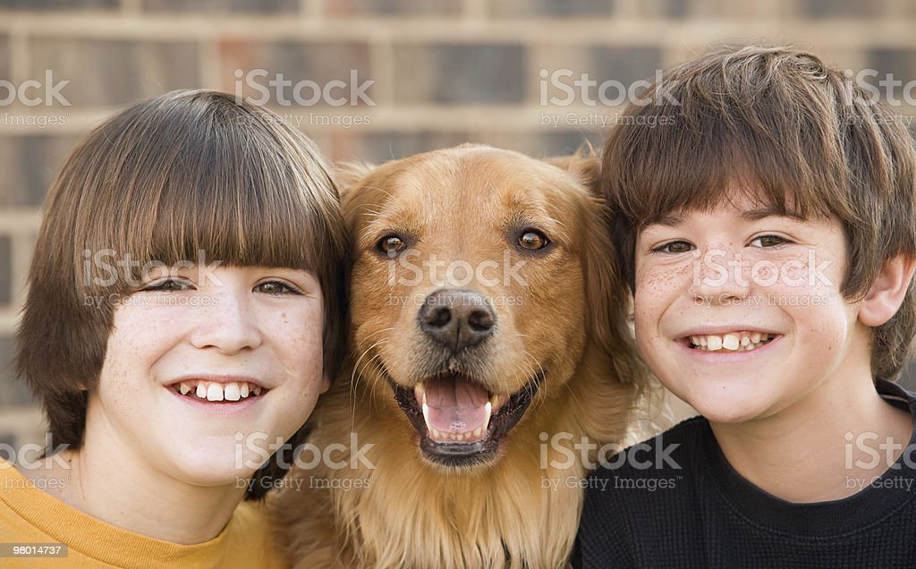 Boys and a Dog royalty-free stock photo
