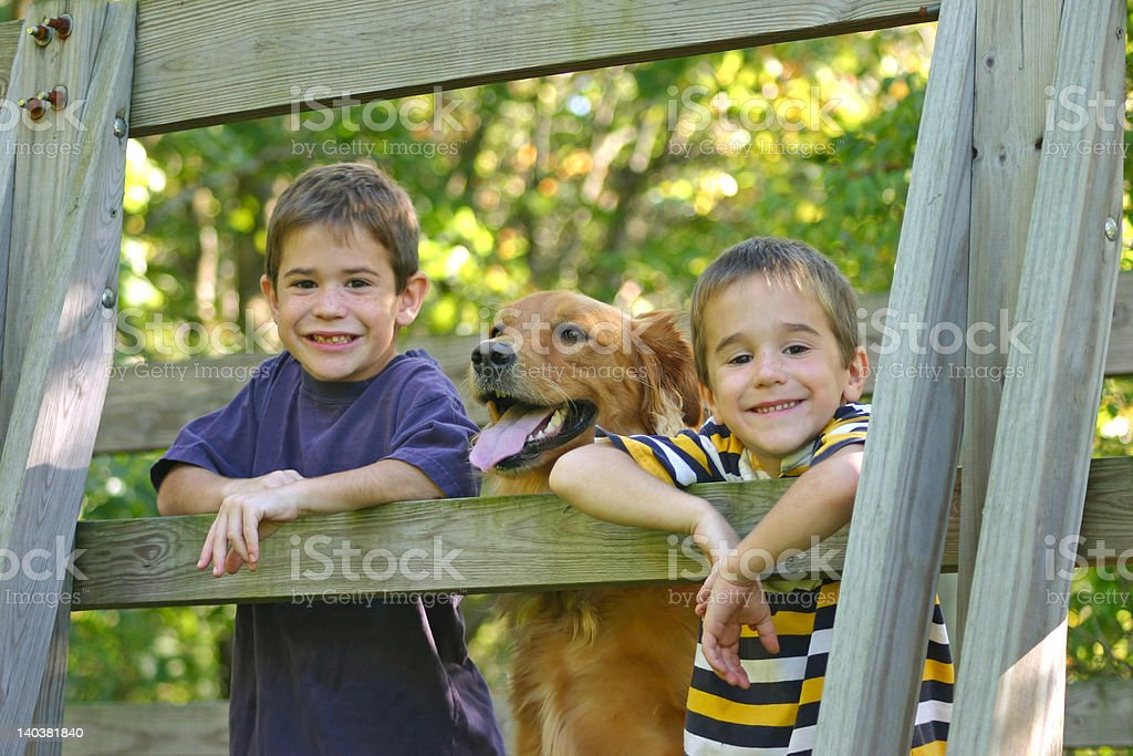 Boys and Dog stock photo