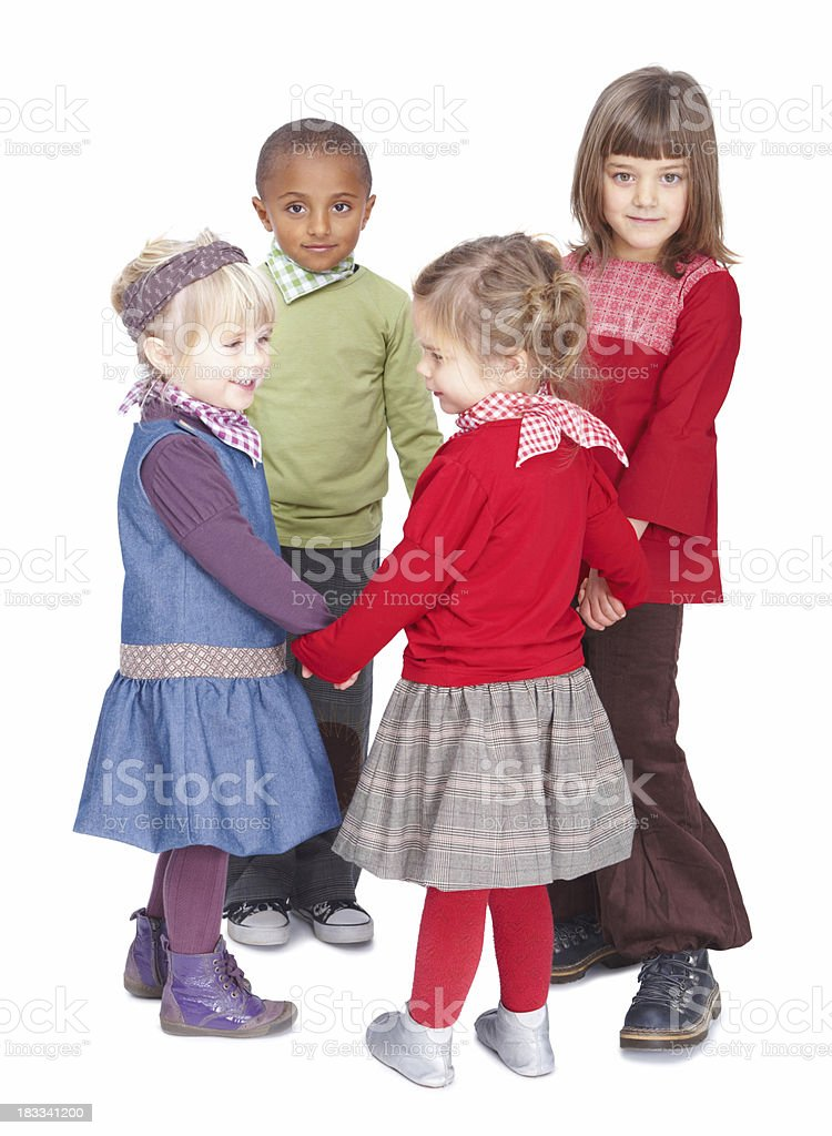 Boys and girls forming a circle on white background royalty-free stock photo