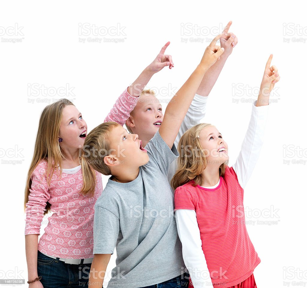 Boys and girls pointing up royalty-free stock photo