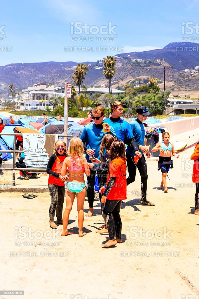 Boys And Girls With Tutors At Surf Camp In California Stock