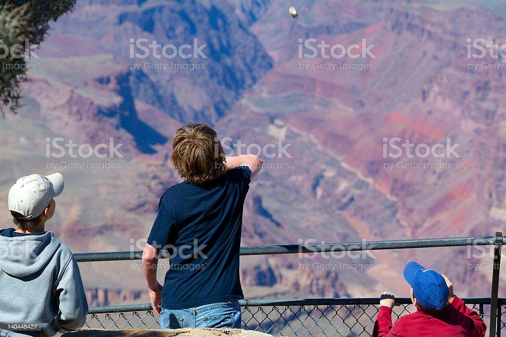 Boys at the Grand Canyon stock photo