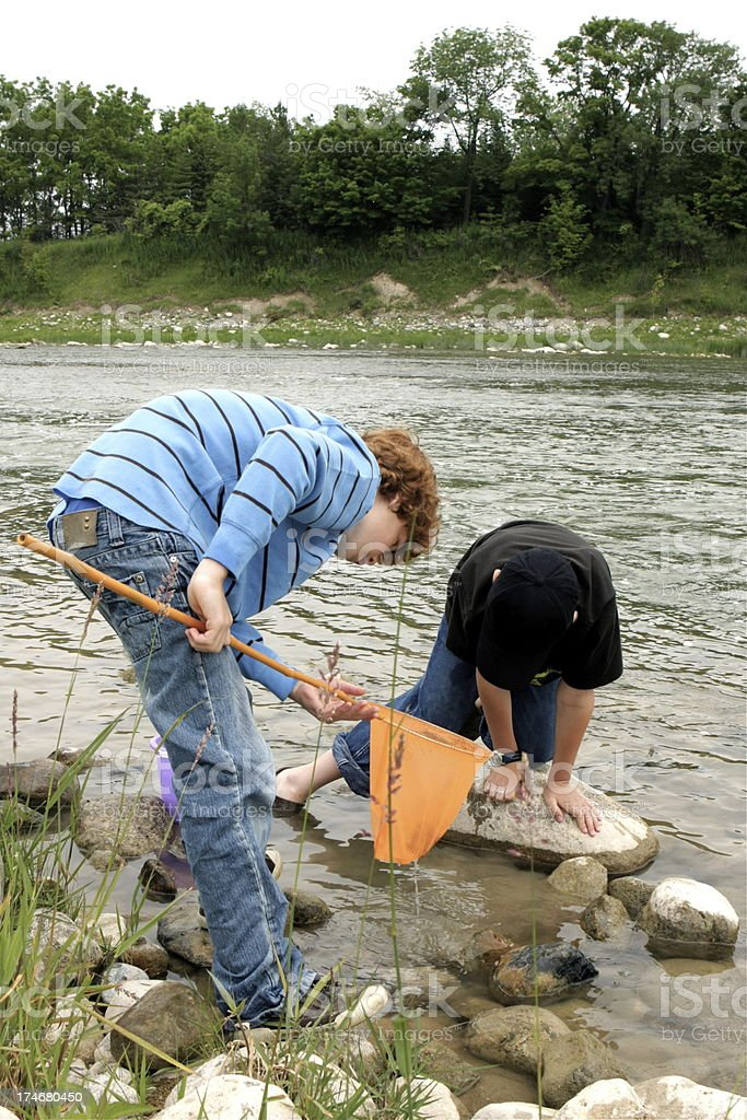 Boys at the River royalty-free stock photo