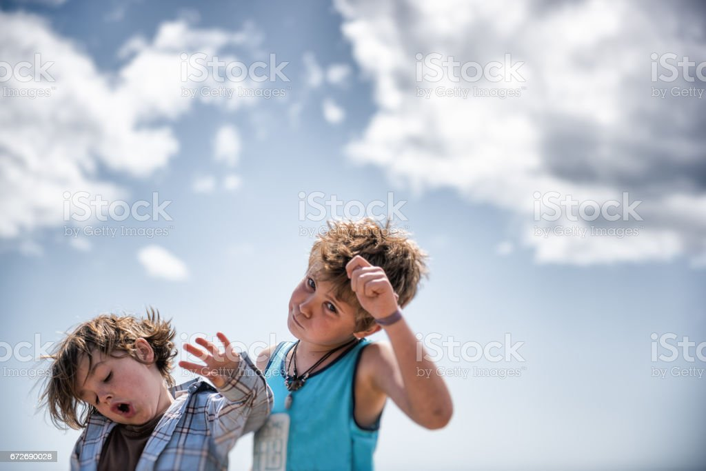 Boys being silly stock photo
