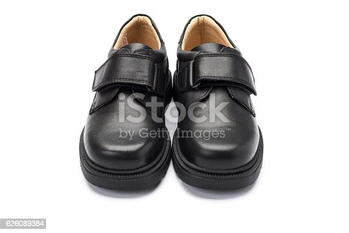 Pair of school shoe for boys, shot at a 3/4 angle on a white background.