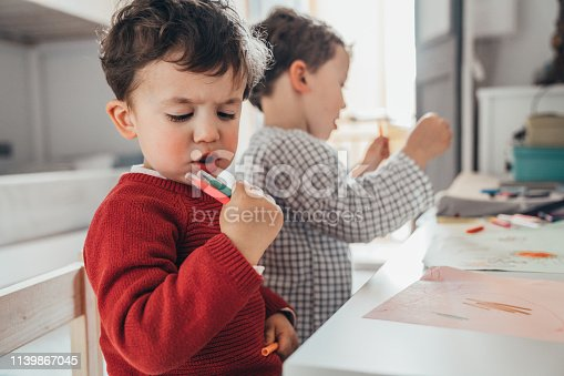 983418152istockphoto Boys drawing at home 1139867045