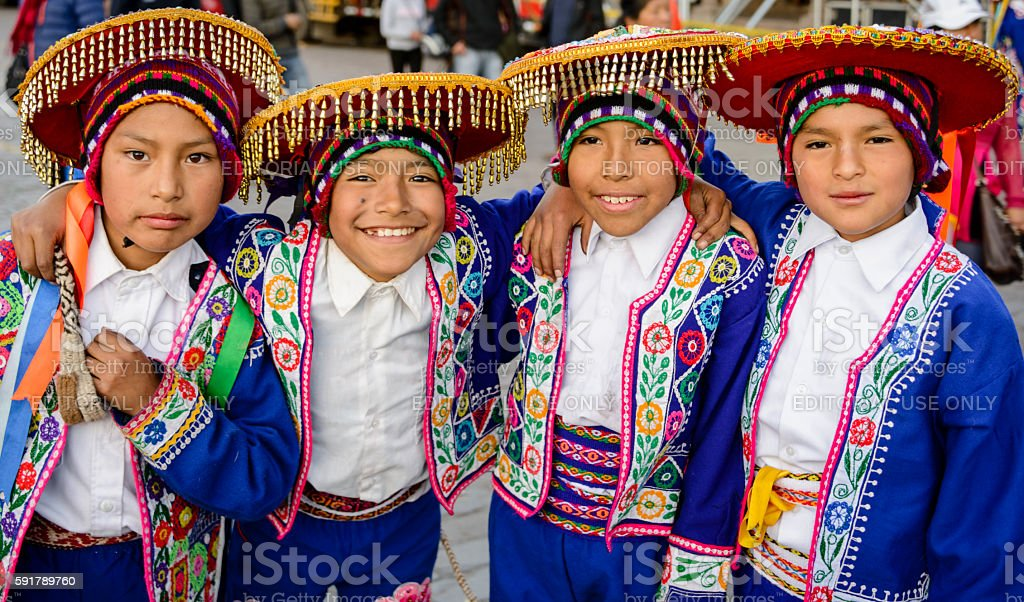 Boys dressed in traditional Peruvian costumes stock photo