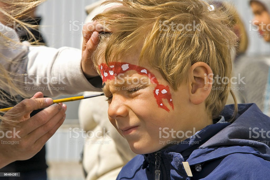 Boys  face painting royalty-free stock photo