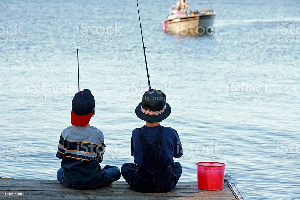 Boys Fishing stock photo