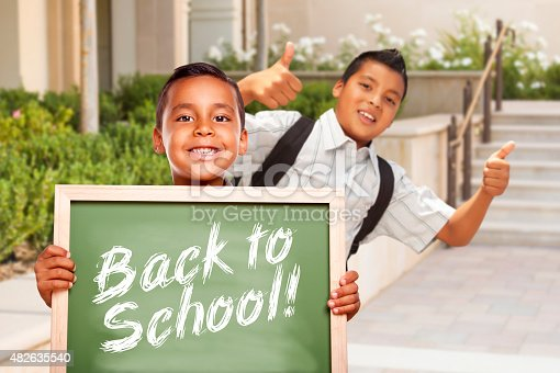 istock Boys Giving Thumbs Up Holding Back to School Chalk Board 482635540