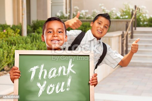 istock Boys Giving Thumbs Up Holding Thank You Chalk Board 482635538