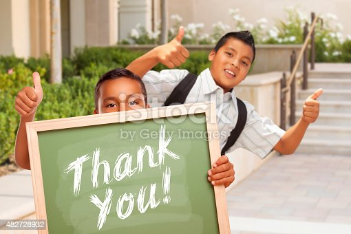 istock Boys Giving Thumbs Up Holding Thank You Chalk Board 482728932