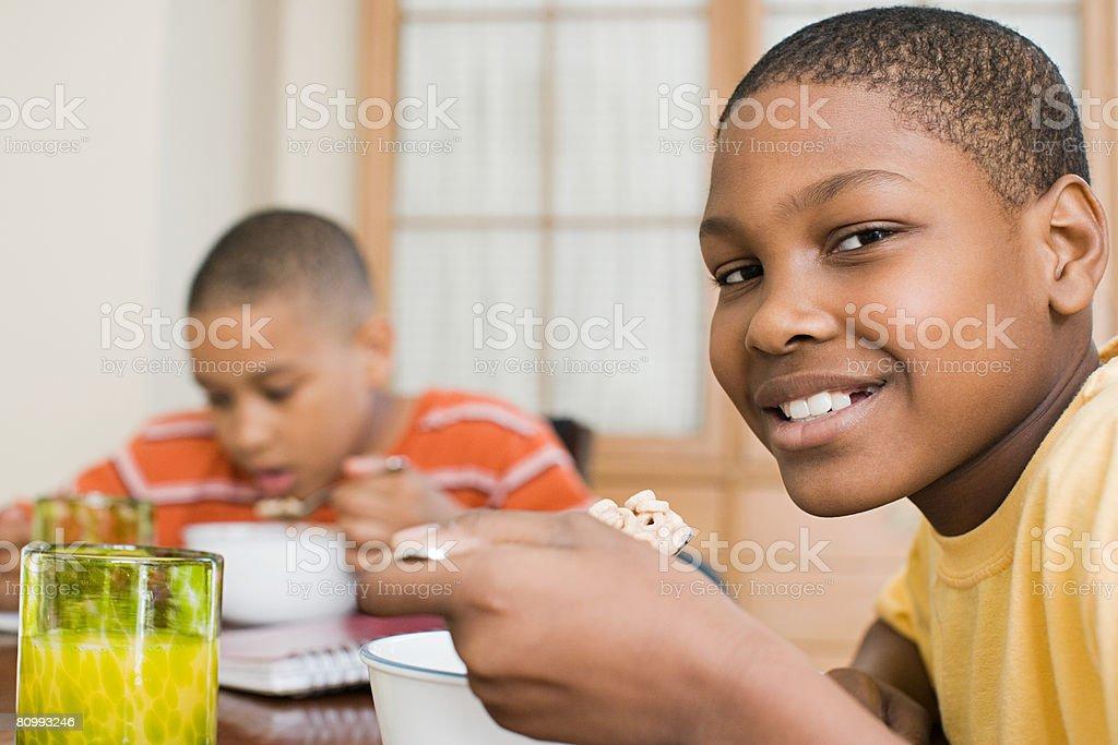 Boys having breakfast royalty-free 스톡 사진