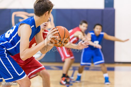 istock Boys high school basketball team: 671176544