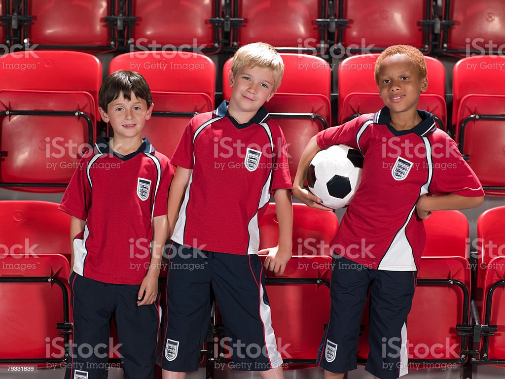Boys in football kit royalty-free stock photo