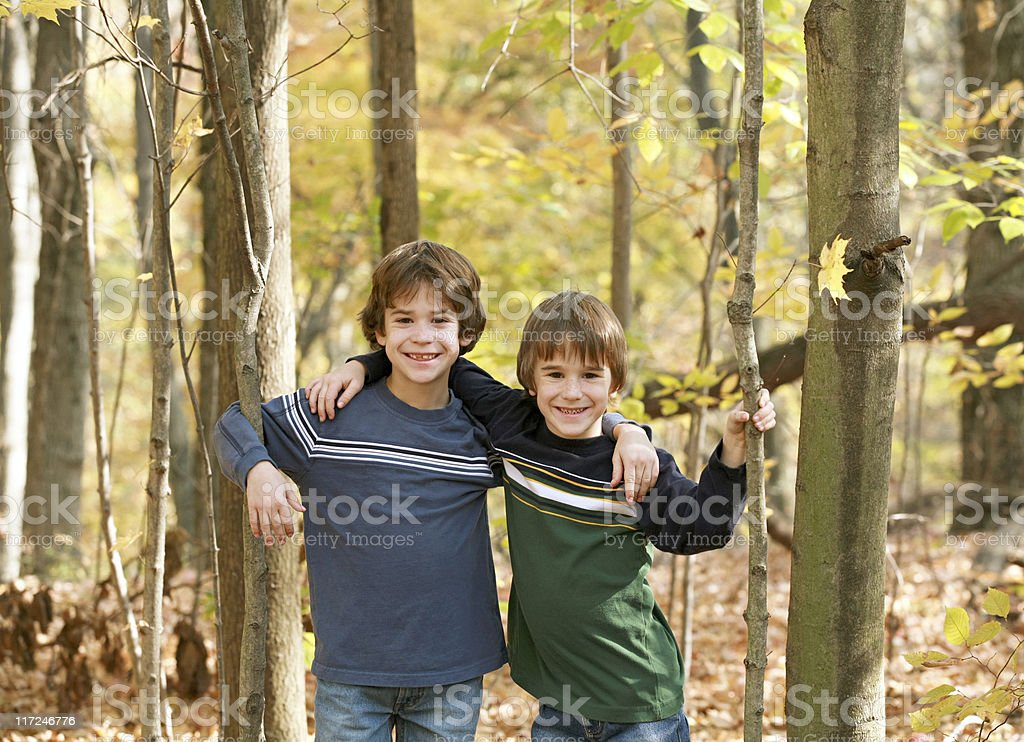 Boys in the Forest royalty-free stock photo
