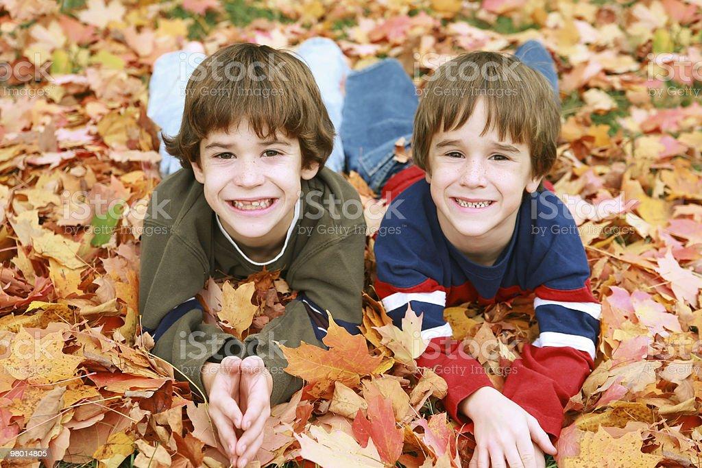 Boys 있는 잎은 royalty-free 스톡 사진