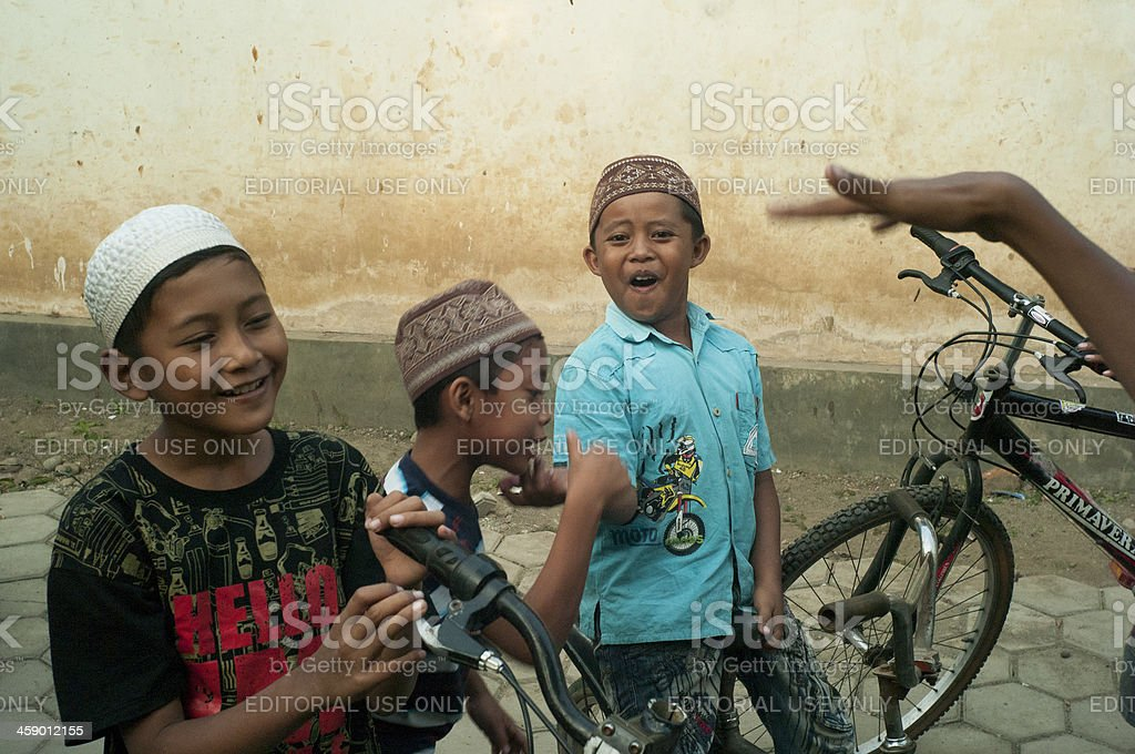 Boys in the street stock photo