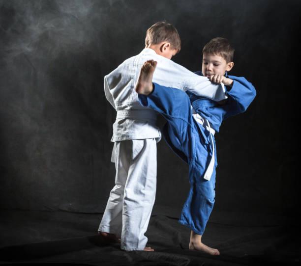 Boys Judo Fighters stock photo