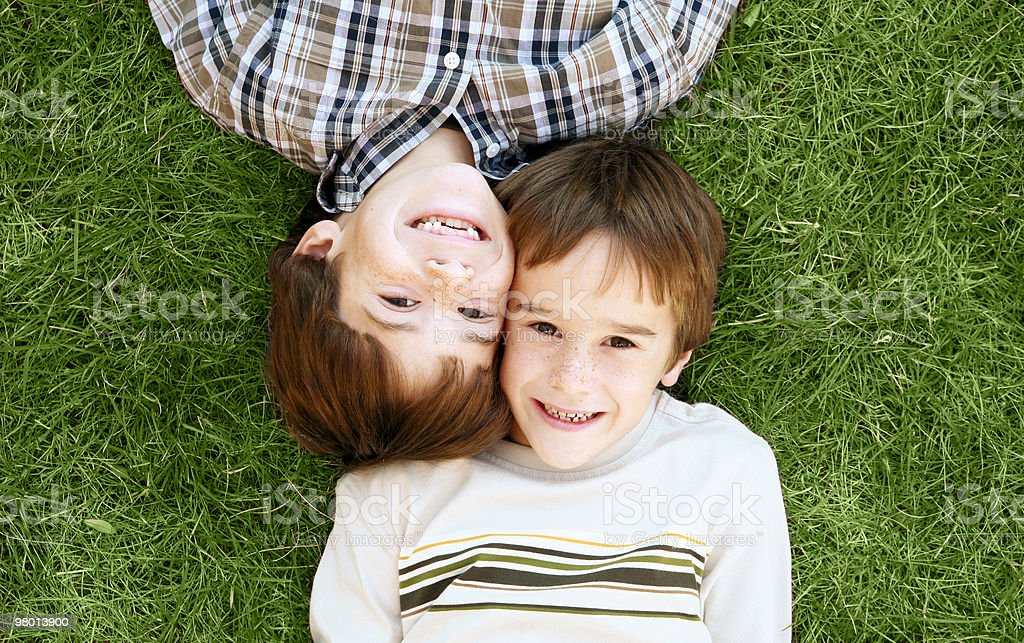 Boys Laying in the Grass royalty-free stock photo