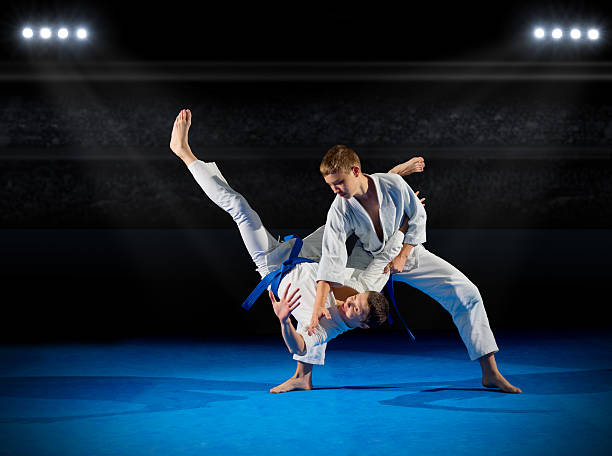 Boys martial arts fighters stock photo