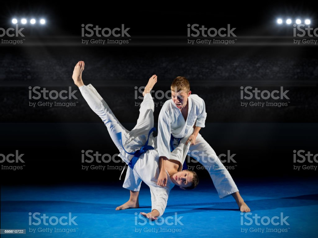 Boys martial arts fighters royalty-free stock photo