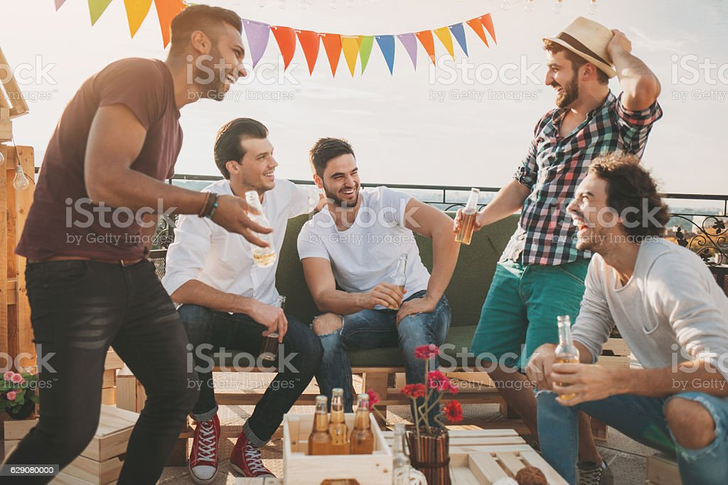 Boys on a party stock photo